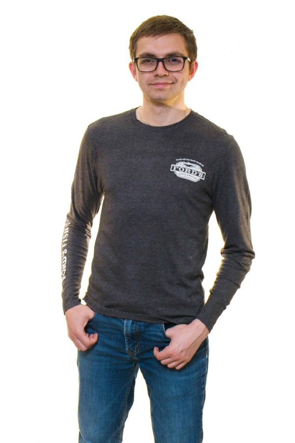 Front of Ford's Fish Shack Long-Sleeve T-Shirt in Rich Gray