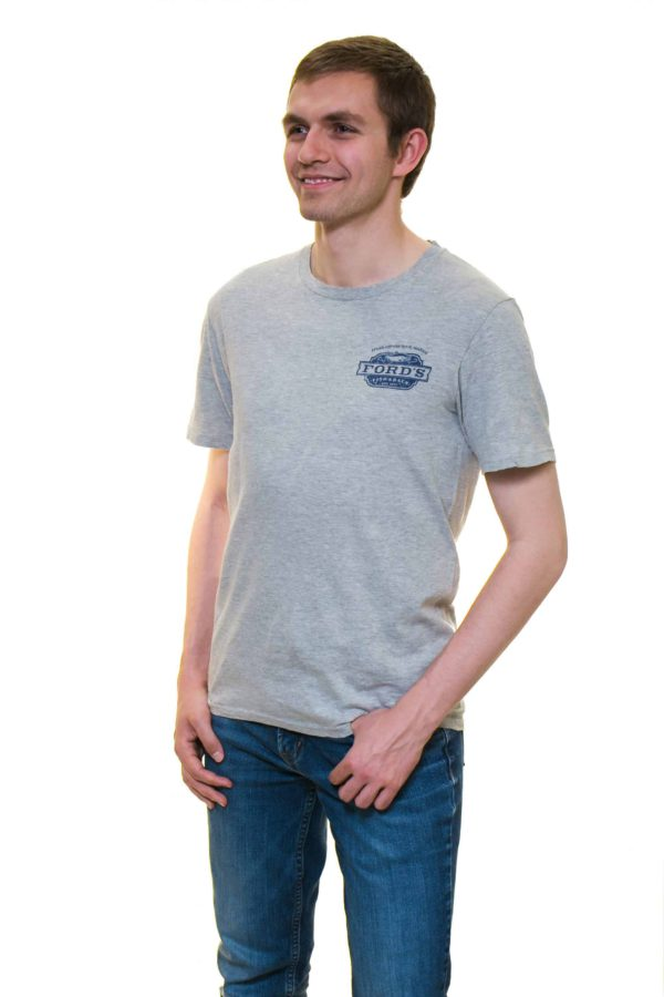 Back of Ford's Fish Shack T-Shirt in Light Stone Gray