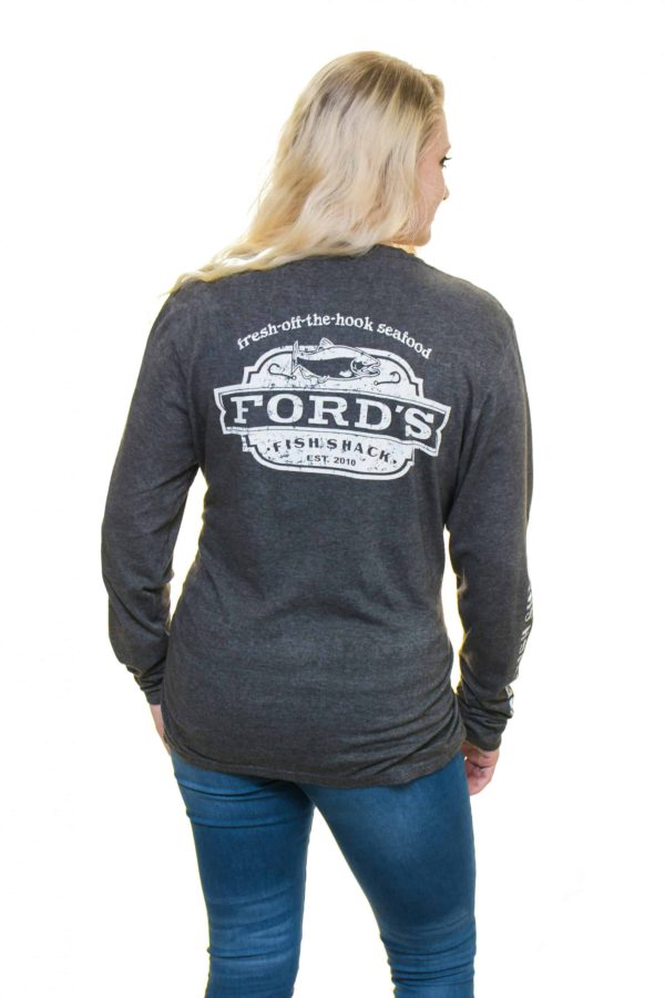 Back of Ford's Fish Shack Long-Sleeve T-Shirt in Rich Gray