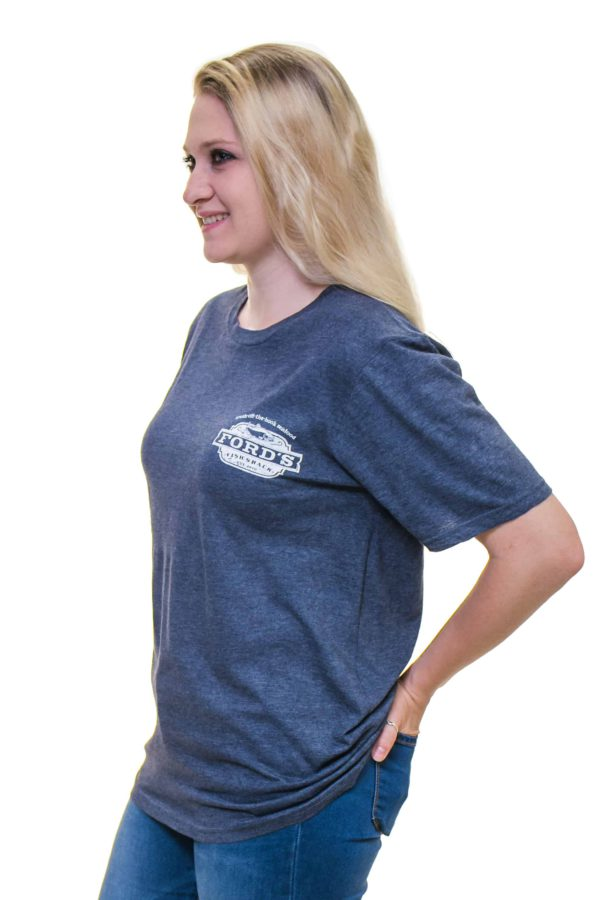 Front and Side of Ford's Fish Shack T-Shirt in Mariner Blue